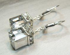 Silver Cube Earrings Metallic Swarovski Crystal Sterling   Etsy Swarovski Gifts, Swarovski Crystal Necklace, Swarovski Crystals, Peridot Jewelry, Birthstone Jewelry, Heart Jewelry, Metal Jewelry, Fine Wedding Jewelry, Green Earrings