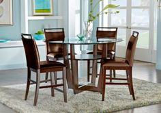 Dining room sets for sale. Many styles of dining room suites & furniture collections: round, rustic, glass, 4-piece & 5-piece sets with table & chairs.