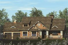 Front elevation of Craftsman home (ThePlanCollection: House Plan #180-1045)