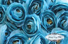 2 pcs Turquois Silky Soft Ranunculus Artificial Flower Heads Color 3.5in DIY Bouquets Arrangements Hair Clips Wedding. $2.75, via Etsy.