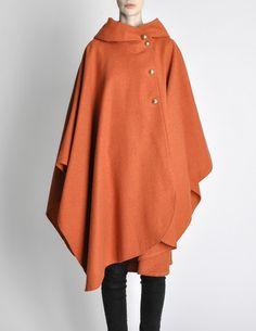 Vintage 1960s Orange Wool Hooded Cape - Amarcord Vintage Fashion