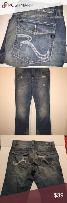Rock and Republic light wash distressed 34x34 New without tags never worn. No issues great jeans just way to long for my husband. Rock & Republic Jeans Straight