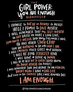 This is really near and dear to my heart. @girlpoweryouareenough is a movement to empower teen girls and young women to go be their awesome selves in a world that sometimes makes it hard to feel awesome.