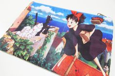 Kiki's Delivery Service Zipper Bag (iPad Mini Tablet Sleeve, Pencil Case, Cosmetic Make up Bag, Wallet) Hayao Miyazaki, Studio Ghilbi, Anime