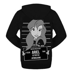 Twisted Ariel Mugshot Hoodie Top Sweater Punk Disney Emo Goth Mermaid ($55) ❤ liked on Polyvore featuring tops, hoodies, disney hoodies, black hooded sweatshirt, goth hoodies, black top and black hoodies