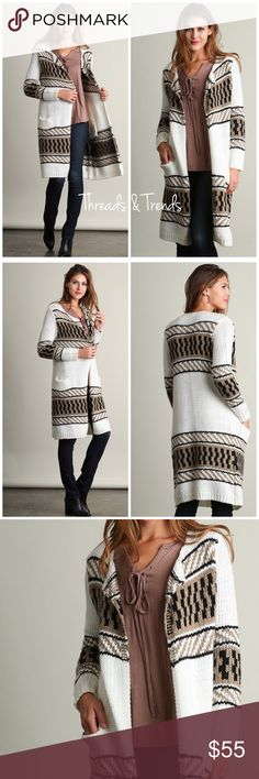 Knit Duster Long Cardigan Gorgeous knit long duster open cardigan sweater. White, beige and black print. Featuring two front pockets. Great addition to any fall/winter wardrobe. Made of a high quality knit. Size S, M, L.                                                                    Search ID #oversized slouchy Threads & Trends Sweaters Cardigans