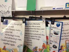 Creative way to display your learning posters for young children...pants hangars. #sjsd #organization #preschool
