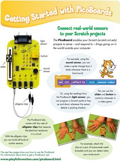Experiment with using Scratch with a sensor board (such as a PicoBoard (£34), a PicoCricket or Lego WeDo) which respond to sound, light, movement and electrical resistance.