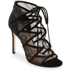 "Pour la Victoire 'Ellery' Lace-Up Sandal, 4 1/4"" heel (172.980 CLP) ❤ liked on Polyvore featuring shoes, sandals, black lace, black lace up shoes, lace up high heel sandals, stiletto sandals, stiletto shoes and black stiletto shoes"