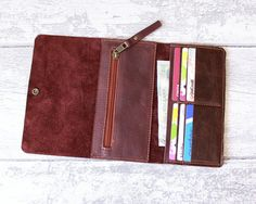 Leather Wallet Woman- Leather Purse - italian leather PLUM and CHESTNUT - Coin…