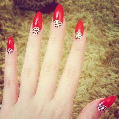 leopard red almond nails/ unghie a mandorla rosse e leopardate :)