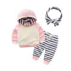 Tem Doger Baby Boys Spring Clothing Sets Long Sleeve Hoodies T shirt + Cap + Pants suits Infants Newborn Stripe Outfits Baby Outfits, Newborn Outfits, Toddler Outfits, Newborn Girls, Casual Outfits, Boys And Girls Clothes, Baby Boy Clothing Sets, Infant Clothing, Girls Pants
