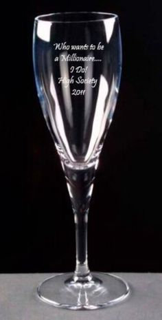 High Society engraved champagne glass