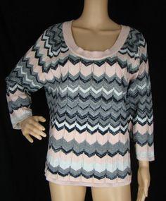 HANNAH Pink Chevron Stripe 3/4 Sleeve Shimmery Cotton Blend Sweater Knit Top XL