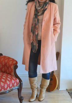taxonomy of my wardrobe blog - pink coat floral scarf tan boots jeans