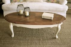 "Distressed antique white Queen Anne coffee table by Analia Pastori Available at ""The Workshop"" is located at 4060 Morena Blvd. Suite H San Diego, CA"