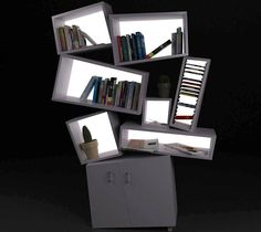 The Tectonic Bookcase | Cool & Unique Furniture | The Tectonic Bookcase by Tembolat Gugkaev is a purposely disheveled piece that is eye-catching during the day, and illuminated at night.
