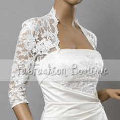 Stretchy lace wedding bridal evening 3/4 by FabFashionBoutique