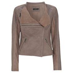 Buy Mint Velvet Leather and Suede Jacket, Mink Online at johnlewis.com