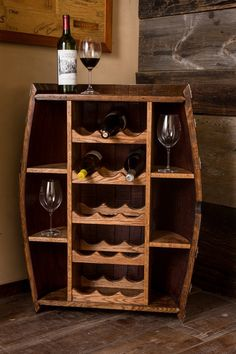 Wine Barrel Bottle Cabinet by alpinewinedesign on Etsy Wine Barrel Furniture, Bar Furniture, Furniture Makeover, Corner Wine Cabinet, Bar Outdoor, Wine Rack Design, Mini Bars, Diy Casa, Wine Decor