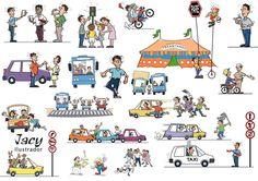 Ilustrações para campanha Transitando Legal. Feitas em Adobe Illustrator