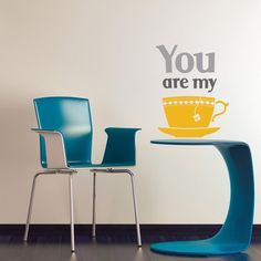 "My Cup Of Tea Wall Decal by Studio Luka will send a warm greeting to guestswho enter your dining room with this dining room wall decor. The decal has the words ""You are my"" and a brightly colored cup of tea. Dinning Room Wall Decor, Dining Room Walls, Room Decor, Kitchen Wall Stickers, Vinyl Wall Stickers, My Cup Of Tea, Cool Walls, Diy Design, Tea Cups"