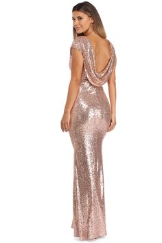 19a8d753d8 Make it a true glamorous night in our Sivan rose goldformal dress. She  features an all over rose gold sequin body