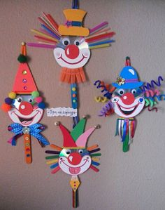 30 idéias para criar com crianças no carnaval - Basteln mit kindern - Kids Crafts, Clown Crafts, Circus Crafts, Creative Crafts, Preschool Crafts, Projects For Kids, Diy And Crafts, Arts And Crafts, Paper Crafts