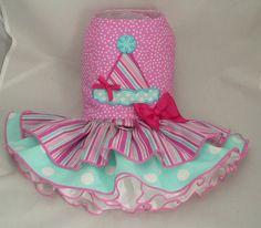 Small dog harness dress. Tutu skirt. Birthday Hat by poshdog