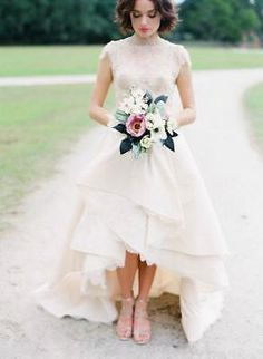 White/Ivory Cap Sleeve Beading High Low Wedding Dress Bridal Gown Custom Size