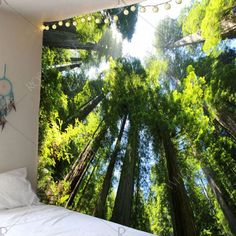 Tree Forest Waterproof Wall Hanging Tapestry - Green W79 Inch * L71 Inch Mobile