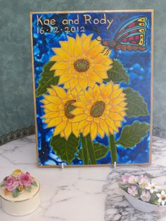 Sunflowers -hand painted tiles #sunflowers #handpaintedtiles #featuretiles #homedecor