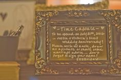time capsule filled with notes and trinkets from your guests, to be opened on an anniversary. probably one of the best ideas for guest advice that i've seen yet.