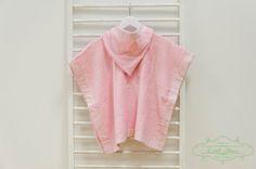 Hooded Baby Poncho Towel  Handmade Pink Gingham Hooded Beach