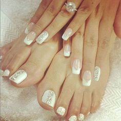Wedding manicure and matching pedicure design idea. Wedding nails - I love the manicure. Wedding Manicure, Wedding Nails Design, Manicure And Pedicure, Mani Pedi, Manicure Ideas, Wedding Toes, Bling Wedding, White Pedicure, Trendy Wedding