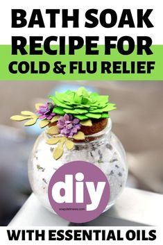 This bath soak recipe is wonderful, not just for boosting immunity to fight off colds and flu, but it also can help with sore muscles and body aches. It's time to get yourself feeling better! Herbs For Health, Health And Wellness, Mental Health, Cold And Flu Relief, Bath Soak, Essential Oil Uses, Epsom Salt, Sore Muscles