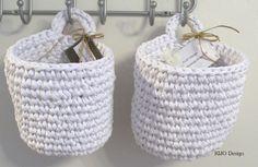 organizadores de trapillo Crochet Home, Love Crochet, Diy Crochet, Yarn Projects, Crochet Projects, Easy Yarn Crafts, Cotton Cord, Craft Desk, Crochet Decoration