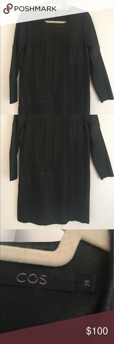 COS leather long sleeve dress size 38 COS leather long sleeve dress size 38. Two side pockets. Unlined. Zipper back. Scoopneck. cos Dresses Long Sleeve