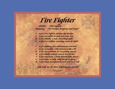 "Our ""Fireman"" background, shown with a poem for Fire Fighter and a Blue mat over a Red mat. We offer dozens of unique gifts for the professionals in your life and over 100 beautiful art backgrounds.  www.lindseyboo.com"