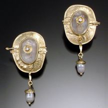 18k crystal diamond pearl earrings by David and Nissa of Vrooman Designs Studio in Asheville NC