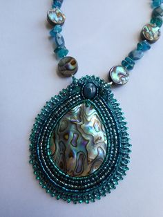 'Oceans of Blue' - Abalone Shell Beaded Pendant with Apatite Gemstones