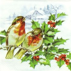 4 xSingle Luxury Paper Napkins for Decoupage Craft Winter Birds