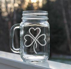 Etched Mason Jar, Etched Glass Mugs, 16oz - Shamrock, wedding glassware, etched clover mugs, beer mugs, Personalized Etched mugs, Irish. $13.75, via Etsy.