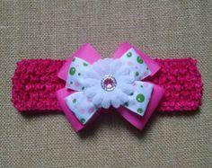 Venda del bebé diadema rosa bebé arco por GloriaMillerCreation
