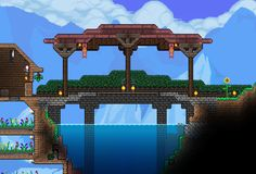 Nothing is impossible in this action-packed adventure game. The world is your canvas and the ground itself is your paint. Terraria House Design, Terraria House Ideas, Terraria Tips, Building Games, Building A House, Minecraft Construction, Bridge Design, Biomes, Legos