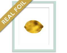 Lemon Art Print - Gold Foil Print - Fruit Poster - Gold Foil Kitchen Wall Art - Food Art - Kitchen Art Print - Gift for Chef - Lemon Poster