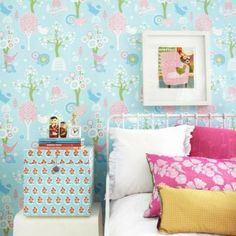 Removable Wallpaper for Kids Rooms Basic Colors, Green Colors, Light Colors, Wallpaper Samples, Pattern Wallpaper, Cherry Valley, Turquoise Pattern, Pink Highlights, Turquoise Background