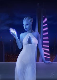 """falaryen: """"Asari temptation This art is a gift for a good friend, who supports me as an artist. As I heard, he loves it, so I'm satisfied :) I was thinking and experimenting with the background and Liara herself for a long time, trying to make..."""