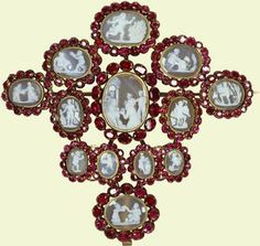 Cruciform brooch with 13 cameos (part of a parure)    16th-17th cent.    North Italian    Acquired by Queen Mary in 1932