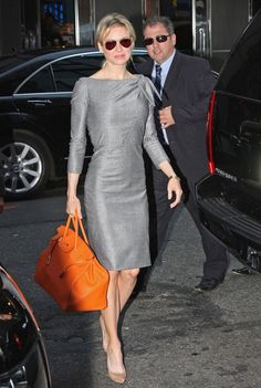 Renee Zellweger in this gray Carolina Herrera dress at Good Morning America.